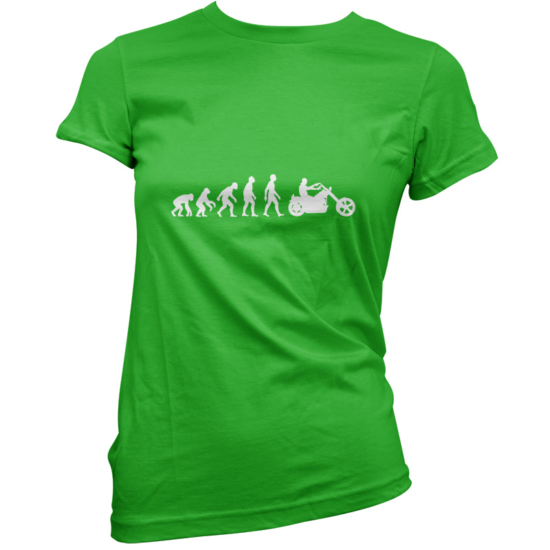 Evolution-Of-Man-Chopper-Motorcycle-Womens-Ladies-T-Shirt-Bicycle-Bike-Rock
