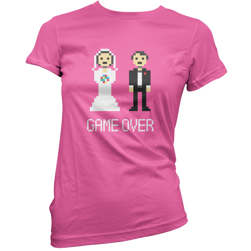 Game Over Pixels - Womens / Ladies T-Shirt - Married - Wedding - Gift - Present