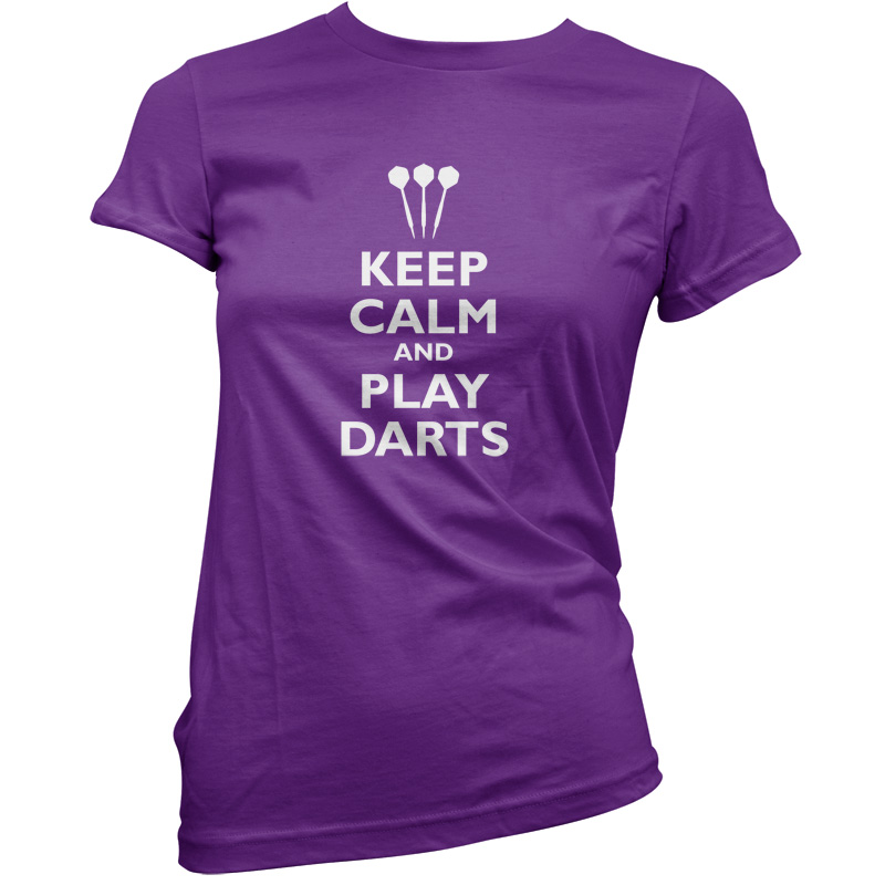 Keep Calm and Play Darts - Womens / Ladies T-Shirt - Bullseye - 11 Colours