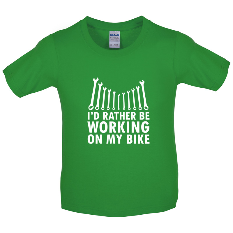 I-039-d-Rather-Be-Working-On-My-Bike-Kids-Childrens-T-Shirt-Motorbike-8-Colours