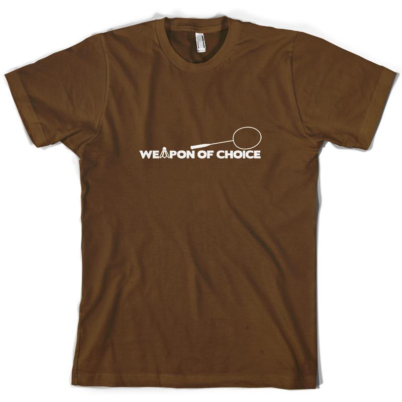 Weapon-Of-Choice-Badminton-Mens-T-Shirt-Raquet-Shuttlecock-Olympic